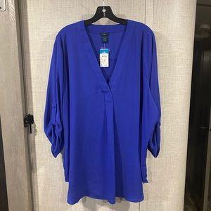 Rue21 3X Blue Blouse Low Cut